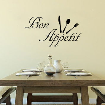 Wall Decals Bon Appetit Decal Vinyl Sticker Spoon Fork Knife Home Decor  Interior Design Kitchen Cafe Restaurant Mural  MN91