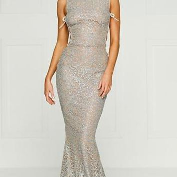 Night of Surprises Silver Nude Glitter Sequin Sleeveless Mock Neck Halter Maxi Dress White Lace Side Cut Out Evening Gown