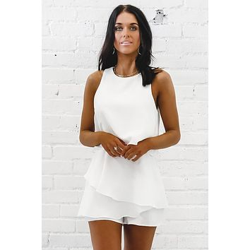 More To It Than It Seems White Layered Romper