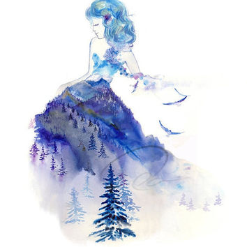 Jazz - Art Print baby blue watercolor painting royal lady winter sky woman Whistler mountain snow girls room bedroom decor Oladesign 11x14