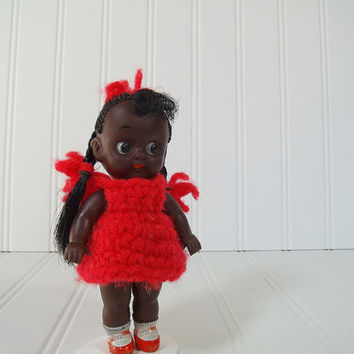 Vintage Black Rubber Baby Cute as a Button Doll Red Knit Dress with Braided Hair - Mid Century Made in Japan African American Baby Doll Toy