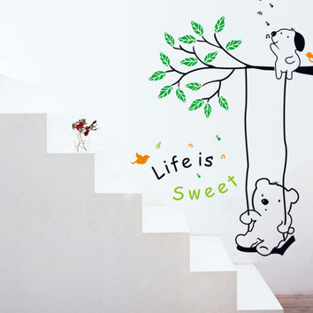 Little bear swinging children room household adornment wall removable wall stickers SM6