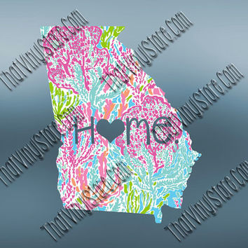 Georgia Heart Home Decal | I Love Georgia Decal | Homestate Decals | Love Sticker | Preppy State Sticker | Preppy State Decal | 050