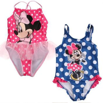 Cartoon Minnie One Piece2017 New Cute Baby Girls Kids Child Toddler Swimwear Swimsuit Tankinis Bikini Set Pink Blue