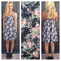 Whimsical Romance Floral Dress- BLACK