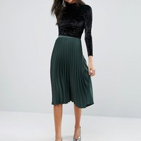 Miss Selfridge Satin Crepe Pleated Midi Skirt at asos.com