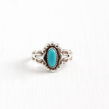 Vintage Sterling Silver Turquoise Blue Stone Ring - Size 3 Retro Southwestern Native American Style Jewelry Signed Bell Trading Co.