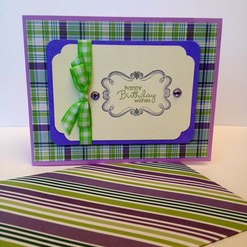 Stamped card, happy birthday, plaid paper, green and purple, green gingham ribbon, rhinestones, birthday card, greeting card, handmade card