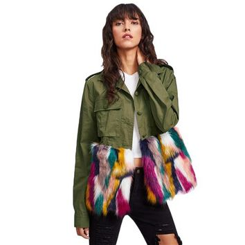 Colorful Trim Utility Autumn Jacket Women Army Green Lapel Color