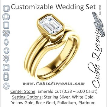 CZ Wedding Set, featuring The Stacie engagement ring (Customizable Bezel-set Emerald Cut Solitaire with Grooved Band)