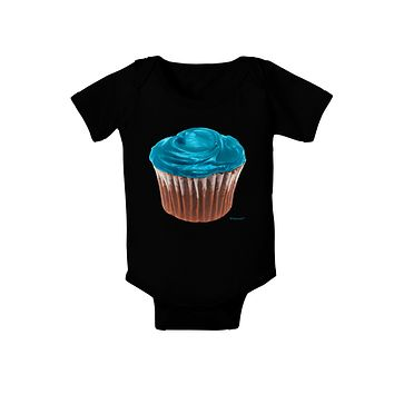Giant Bright Turquoise Cupcake Baby Bodysuit Dark by TooLoud