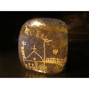 Abstract Folk Art Aztec Design Textured Glass Paperweight