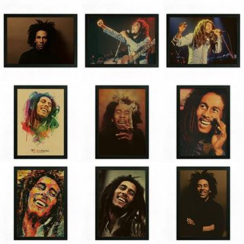 Bob marley Vintage Retro rock band music Guitar Antique Poster Wall Sticker Home Decor rasta reggae