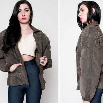 Green Suede Leather Jacket with Snake Skin Detailing