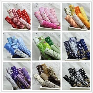"""9 Sets Colors 100% Cotton Fabric 10"""" Squares Tissue for Sewing Quilting Patchwork Doll Cloth"""