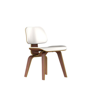 Eames Molded Plywood Upholstered Dining Chair-Leather