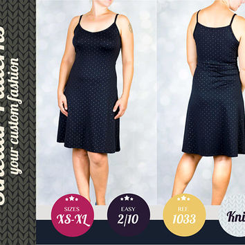 PDF knit knee length fitted dress sewing pattern with step by step sewing tutorial (easy/beginners) XS/S/M/L/XL