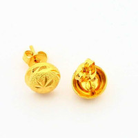 24k gold plated earring round stud pendientes bear Personalized YHDE 1 MP