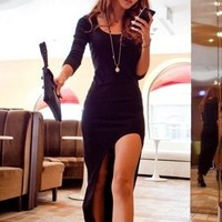 Sexy Long Sleeve Asymmetrical Dress