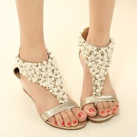 Elegant Fashion Beaded Rhinestone Thong Sandal