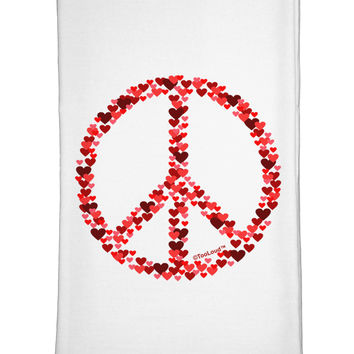 Peace Sign Hearts Red Flour Sack Dish Towel