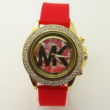 MK Michael Kors Ladies Trending Men Fashion Quartz Watches Wrist Watch Red Golden G