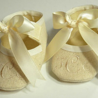 Baby Shoes - Personlized Natural Linen Baby Booties - Monogram Baby Shoes- Baby Shoe Christening