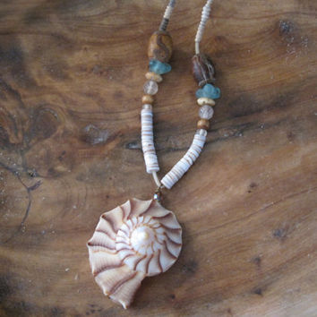 Seashell Necklace - Sundial Shell Necklace - Seashell Pendant - Beach Jewelry