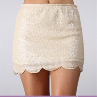 Ivory Scallop Hem Sequin Skirt