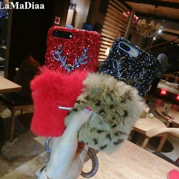 LaMaDiaa Luxury Rabbit Fur Case For iPhone 8 7 6 6S Plus X Cover Fashion Bling Diamond Winter Hard Furry Shell Plush Phone Cases