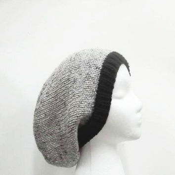 Slouch beanie hat gray with marble flecks and black brim handmade 5093