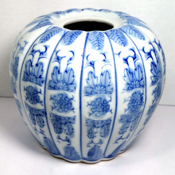 Small Blue and White Asian Vase Mid Century Ceramic Hostess Gift French, Ethnic Decor Cottage Chic