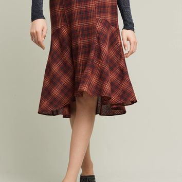 Callie Plaid Midi Skirt, Red
