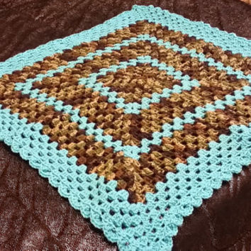 Teal and Camouflage Granny Square Afghan, Baby Afghan, Toddler Afghan