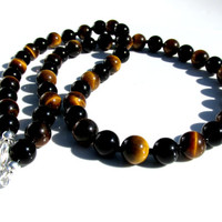 Mens Onyx and Tiger Eye Necklace, Mens Gemstone Necklace, Mens Necklace, Tiger Eye Necklace, Onyx Necklace, Handmade Necklace