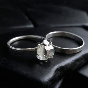 Sterling Silver and Herkimer Diamond Engagement Set - Herkimer Bridal Set - Hammered Wedding Bands - Boho Wedding Rings - Raw Crystal Ring