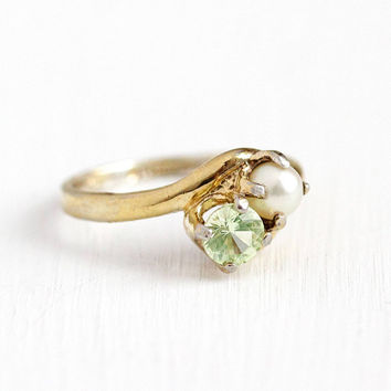 Vintage Yellow Gold Washed Sterling Silver Cultured Pearl & Created Light Green Spinel Ring - Retro Size 7 Toi Et Moi Two Stone Jewelry