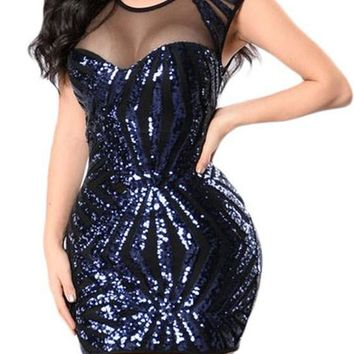 Navy Blue Sequin Mesh Cutout Sexy Mini Club Dress