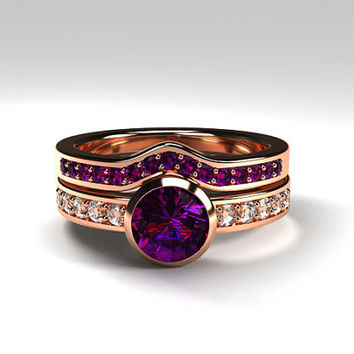 Amethyst engagement ring made from rose gold, amethyst solitaire, half eternity ring, diamond ring, bezel, amethyst wedding, purple ring set