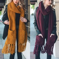 alexa - oblong fringe knit scarf with pockets - more colors
