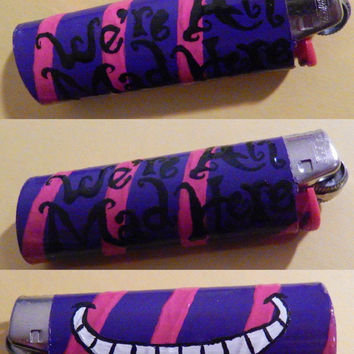 Alice in Wonderland Custom Handmade Cheshire Cat w/ Quote Disney NEW Bic Lighter