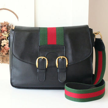 Vintage Gucci Messenger bag 80s Red Green Leather with web Shoulder Authentic handbag
