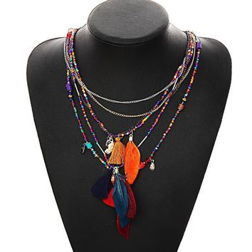 Women Multi-Color Feather And Beads Chain Statement Necklace