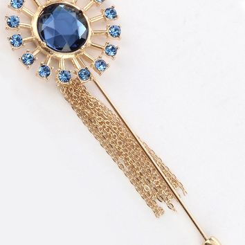 Blue Glass Stone Tassel Chain Metal Pin And Brooch