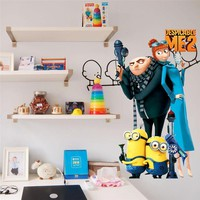 Despicable me 2 cute minions wall stickers for kids rooms ZooYoo1406S decorative adesivo de parede removable pvc  wall decal
