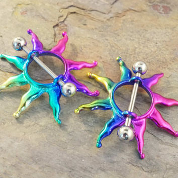 Rainbow Tribal Sun Nipple Shield Jewelry Barbell 316L 14ga Piercing