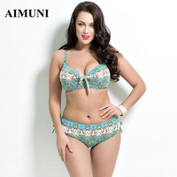 2016 women plus size swimwear Bathing Suit Push up Bikini set Brazilian Women high waist Swimwear plus size print Swimsuit xxxl