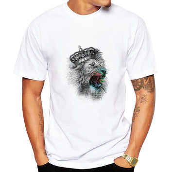 Fashion Men 3D Water Printed T Shirt Man funny print hair Lion King summer t shirt street wear tops tees Camisetas