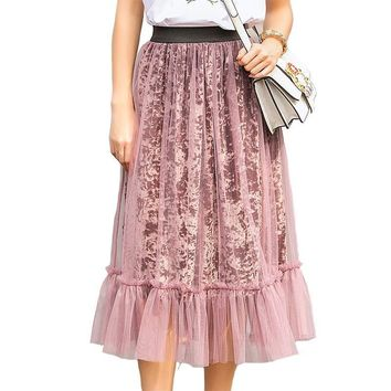 Winter Skirt Women Casual Cotton Solid Big Hemline Vogue Pleated Skirts Female Empire Bohemian Long Mesh Party Skirts