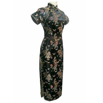 Black, Blue, Pink, Gold, Light Blue, Red Floral Silk Long Cheongsam One-piece Chinese Qipao Dress